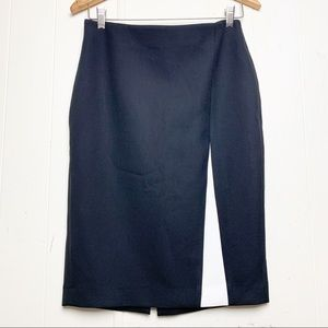 Zara Basic Black white split detail pencil skirt